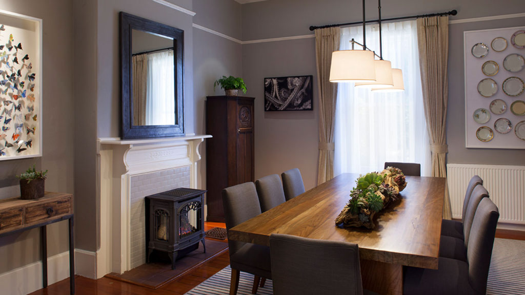 The Funston House Dining Room With Fireplace