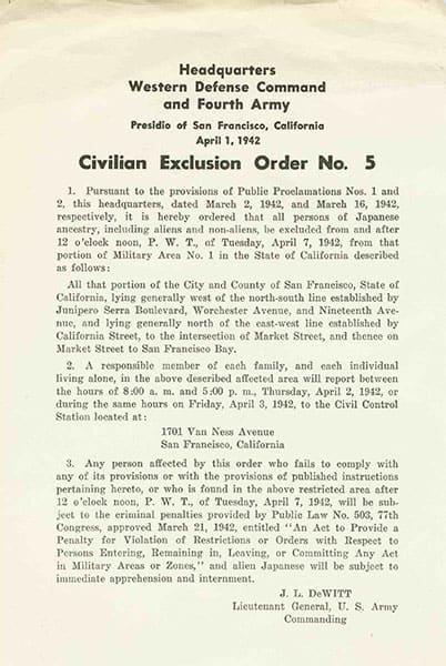 Civilian Exclusion Order No. 5