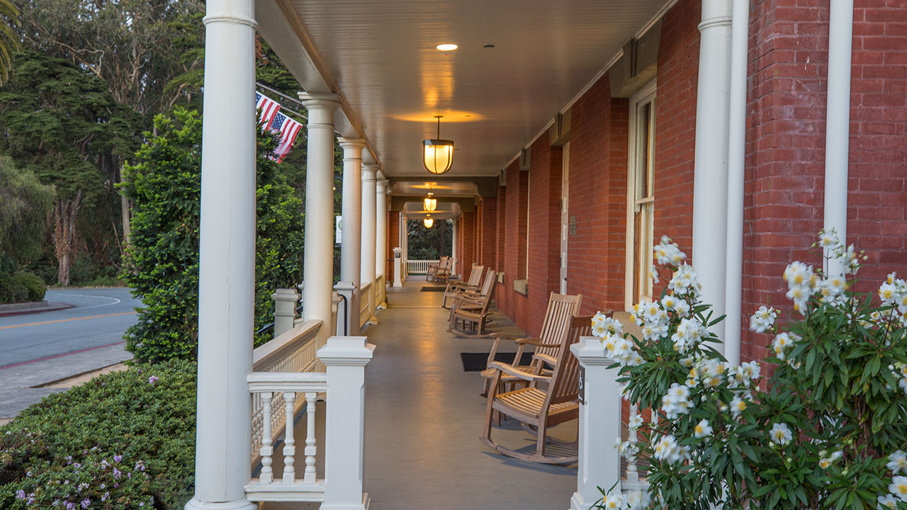 Inn at the Presidio Front Deck with Rocking Chairs