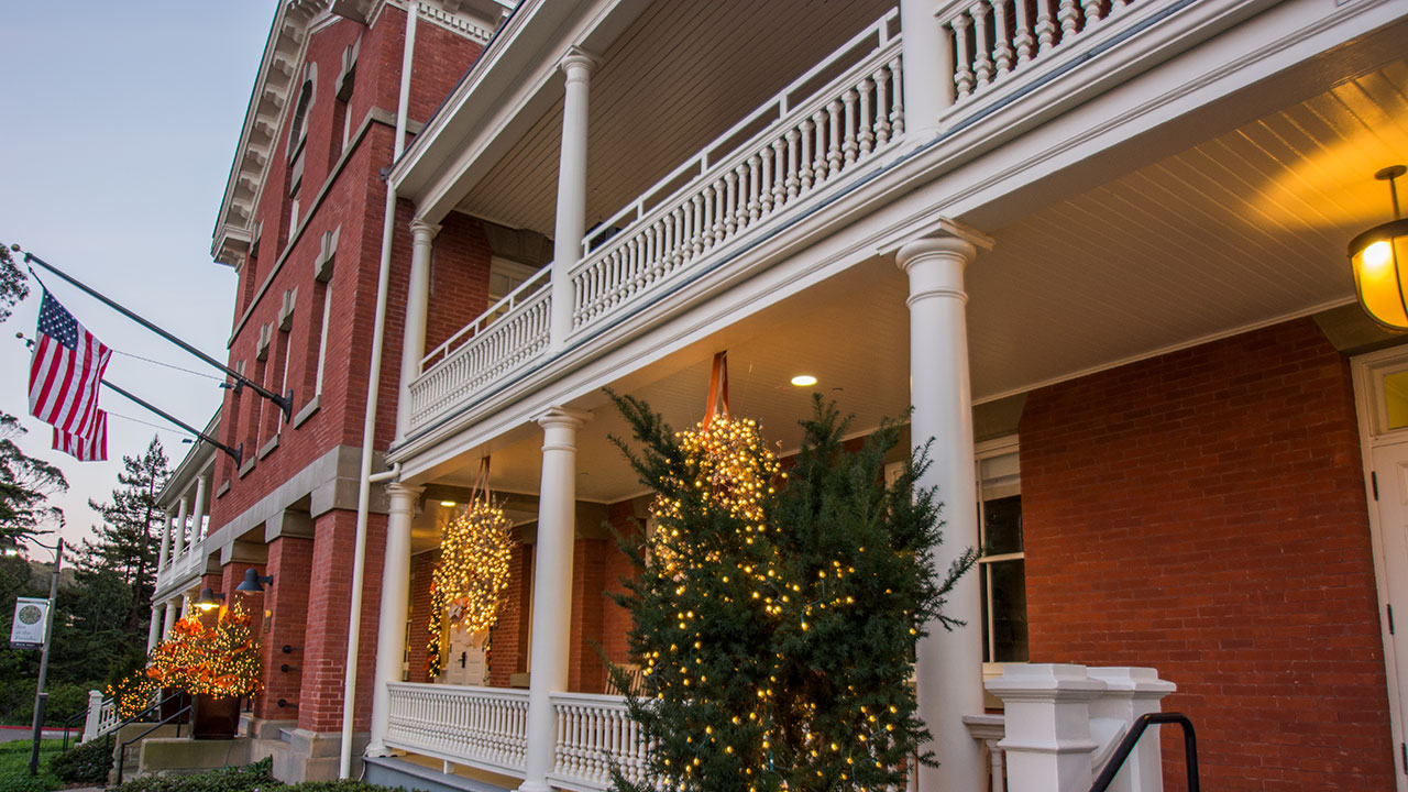 Inn at the Presidio Decorated With Christmas Lights