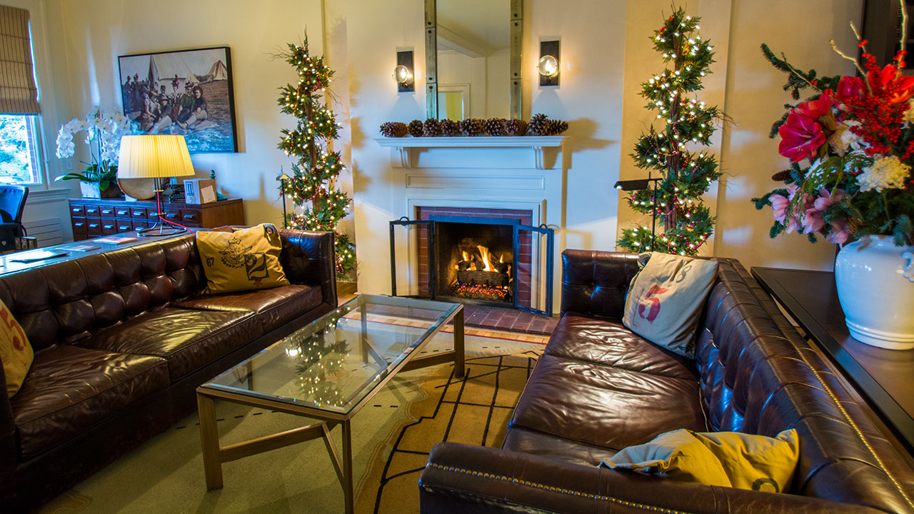 Christmas Decorations Next To The Roaring Fire