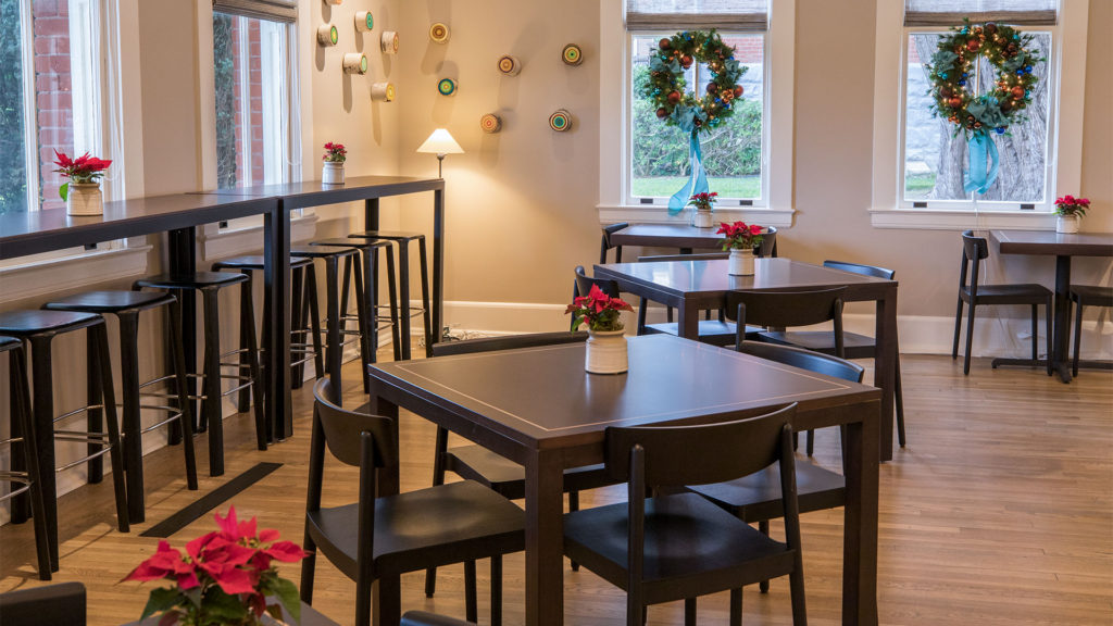 Lodge at the Presidio Dining Room Area With Poinsettias And Wreaths
