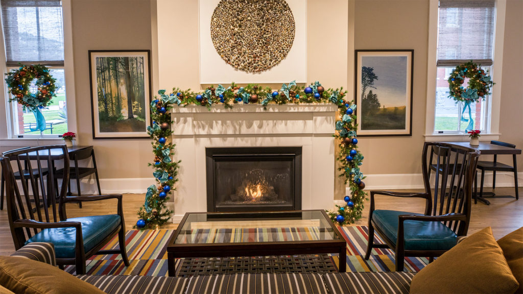 Lodge at the Presidio - Fireplace With Christmas Decorations